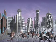 3d Model of Sci-fi city Stock Illustration