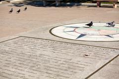 Zero kilometer on the square of jose marti, cienfuegos, cuba Stock Photos