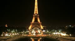 Eiffel tower at night timelapse Stock Footage