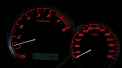 car speedometer and tach - stock footage