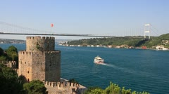 Istanbul from the Rumeli Fortress Stock Footage