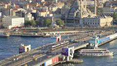 Stock Video Footage of Aerial view of the Galata Bridge