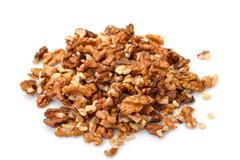 heap purified walnuts - stock photo