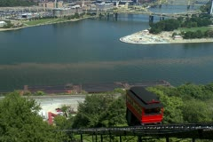 Duquesne Incline car traveling down Mt Washington Stock Footage