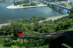 Duquesne Incline car traveling up Mt Washington Stock Footage