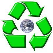Recycling symbol surrounding earth - stock illustration