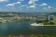 Pittsburgh three rivers area showing point state park. Stock Footage