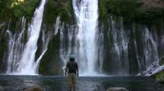 Burney Falls 33 Man Standing Waterfalls Stock Footage