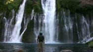 Stock Video Footage of Burney Falls 33 Man Standing Waterfalls
