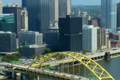 Downtown Pittsburgh seen from Mt. Washington Stock Footage