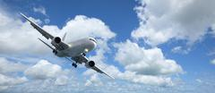 jet aircraft is maneuvering for landing. panoramic composition in high resolu - stock photo