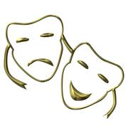Theatrical masks of drama and comedy Stock Illustration