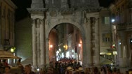 Timelapse - People Walking through Roman Arch Stock Footage
