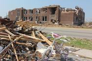 Old Elementary School Heavily Damaged by a Tornado Stock Photos