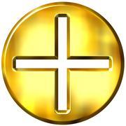 3D Golden Framed Addition Symbol - stock illustration