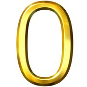 3D Golden Number 0 Stock Illustration