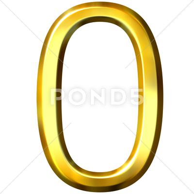 Stock Illustration of 3D Golden Number 0