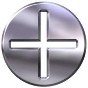 3D Silver Framed Addition Symbol - stock illustration