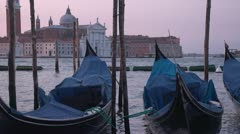 Gondolas Early Morning Venice Stock Footage
