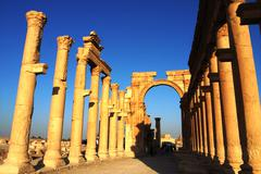 relics of palmyra in syria - stock photo