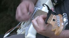 Electric guitar strumming, close up Stock Footage