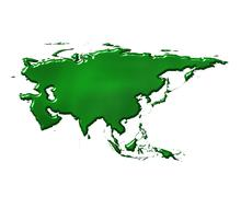Asia 3D Ecological Map Stock Illustration
