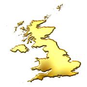 Great Britain 3d Golden Map Stock Illustration