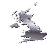 Great Britain 3D Silver Map - stock illustration