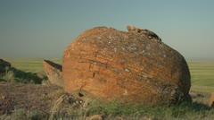 Mysterious Rock Formation in the Prairies Stock Footage