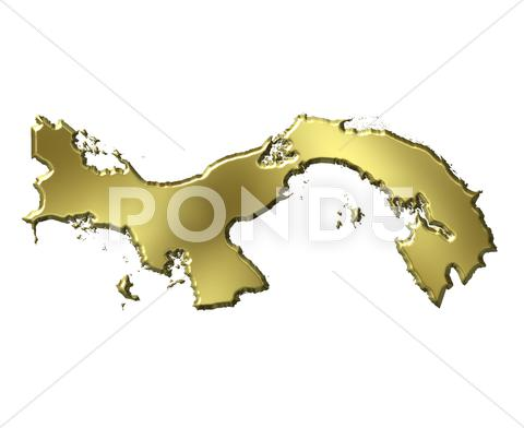 Stock Illustration of Panama 3d golden map