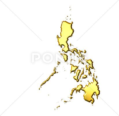 Stock Illustration of Philippines 3d Golden Map