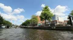 Amsterdam canal from a boat Stock Footage