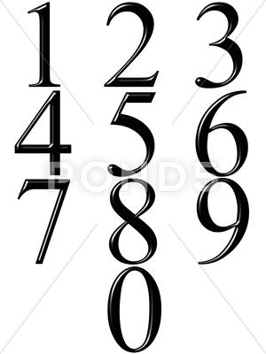 Stock Illustration of 3d black numbers with reflection