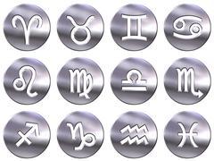 3D Silver Zodiac Signs Stock Illustration