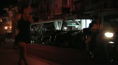 Girl walking at night time in summer time in Southern Italy, Sicily. Stock Footage
