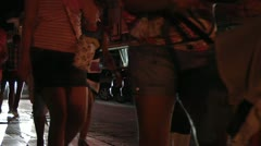 Tourists walking on sidewalk. Night time, Southern Italy. Stock Footage