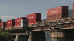 railway, Container train over bridge medium shot - stock footage