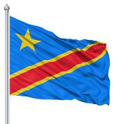 waving flag of democratic republic of the congo - stock illustration