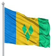 Stock Illustration of waving flag of saint vincent and the grenadines