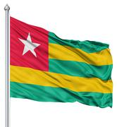 waving flag of togo - stock illustration