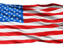 usa flag waving in the wind. - stock illustration