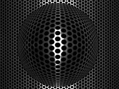 punched metal grid with convex spherical element - stock illustration