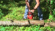 Sawing wood, close-up Stock Footage