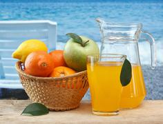 various fruits and juice - stock photo