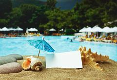 Stock Photo of sandy beach on a tropical coast