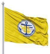 waving flag of usa city, anchorage - stock illustration