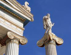 Statue of Apollo outside Academy of Athens, Greece Stock Photos