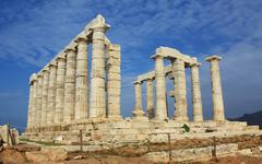 Ruins of Temple of Poseidon in Greece Stock Photos
