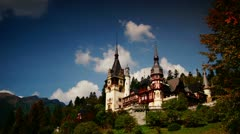 Stock Video Footage of Peles royal castle in Sinaia, Romania. Cloud time lapse.