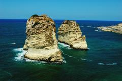 pigeon rocks,beirut lebanon - stock photo